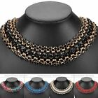 1x Cotton Weave Braid Crystal Rhinestone Gem Golden Metal Chain Choker Necklace