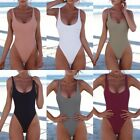 Women One Piece Swimsuits Sexy High Cut Low Back Bathing Suits Retro 80s/90s
