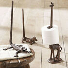 Animal Paper Towel Holder Toilet Roll Stand Cast Iron Bronze Finish Rustic Decor