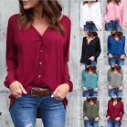 Womens Chiffon V Neck Long Sleeve Blouses Button Ladies Casual Blouse Top Shirt