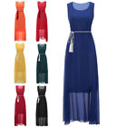 Bowknot Women Chiffon Sleeveless Evening Party Prom Gown Solid Maxi Dress O7511