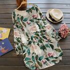 Women Rolled Up Long Sleeve Round neck floral Printed Tunic Tops Shirt Dress Hot