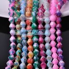 100pcs 6mm Faceted Bicone Coated Glass Colorized Loose Spacer Beads DIY Findings