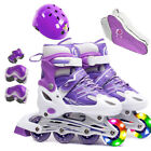 Kids Boy Girl Inline Roller Skates Free Helmet&Knee Pads Set Children Adjustable