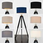 Stylish Black Wood Tripod Floor Lamp Home Lighting with Cotton Shades + LED Bulb