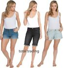 LADIES CASUAL DENIM SHORTS KNEE  BEACH WEAR IN SIZES 10-22 SUMMER HOLIDAYS