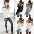 Womens Long Sleeve Blouse Pullover Jumper Crop Tops Casual Loose Cotton T-Shirt