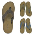 Crevo Calabresas Mens Leather Braided Sandals Flip Flops