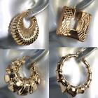 """9ct 9K """" Gold Filled """" Ladies 39 - 60mm HUGE THICK Hoop Earring Birthday E791"""