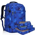 Royal Blue Geometry 40L Cabin Carry-on Backpack w/ 3PCS Packing Cubes Wholesale
