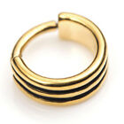 24kt YELLOW GOLD PVD STEEL HINGED BANDED RING - 1.2mm (16g)