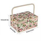 Wood Basket Sewing Box Gift Set with Sewing Tool Kit Accessories Storage Case