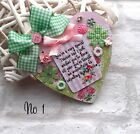 Shabby Chic THANK YOU TEACHER  Sign Gift Wooden Heart Plaque 2 sizes