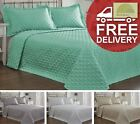 Geometric Quilted Throw Bedspread & Matching Pillowsham Pair Bedding Faux Silk