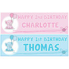 2 PERSONALISED BALLOON BIRTHDAY BANNERS - 1st 18th 21st 40th 50th Any Name Age
