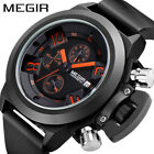 MEGIR Silicone Military Men's Watches Analog Date Chronograph Wrist Watch LCD image