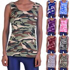 Fashion Women Lady Camouflage Tops Sleeveless Tank Beach Blouse Shirt S-5XL