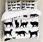 Ambesonne Cat Duvet Cover Set Twin Size, Black Cat Silhouettes in Different
