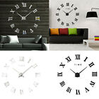 Modern Large Roman Numerals DIY Mirror Wall Clock Sticker Home Office Decor Hot