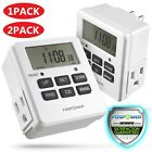 7 Day Heavy Duty Digital Electric Programmable Dual Outlet Plug In Timer Switch