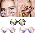 Rave Kaleidoscope Round Rainbow Glasses Diffraction Crystal Lens Sunglasse