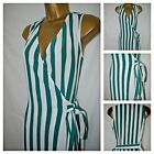 NEW M&S MARKS & SPENCER WRAP DRESS SHIFT GREEN IVORY STRIPED SUMMER SIZE 6 - 16