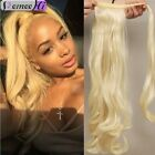 Clip In Ponytail 100% Human Hair Extension Hair Piece Wrap Around Wavy Style