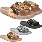 Womens Ladies Flat Sliders Comfy Sandals Studded Embellished Grunge Summer Size