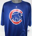 NEW Mens Majestic Chicago Cubs Baseball Blue Logo MLB Synthetic Tee Shirt on Ebay