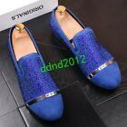 Summer Men Leather Round Toe Rivet Sequins Flat casual Shoes Slip On loafers