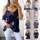 Sexy Womens Short Sleeve Cold Shoulder Floral Print Blouse Casual Summer Tops