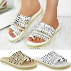 Womens Flatform Studded Espadrilles Summer Sandals Toe Post Cushioned Size UK