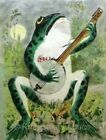 Vintage Frog Banjo Crazy Quilt Fabric Block Multi Sizes FrEE ShiPPinG WoRld WiDE