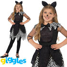 Girls Midnight Cat Costume Halloween Childrens Kids Kitty Fancy Dress Outfit
