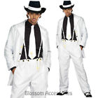 CL881 Zoot Suit Mens White Gangster 20s 1920s Pinstripes Fancy Dress Up Costume
