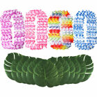 Hawaiian Party Grass Table Skirt Artificial Palm Leaf and Flowers Leis Garland
