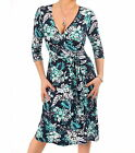 New Floral Printed Wrap Dress - Three Quarter Length Sleeves