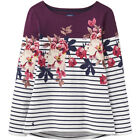 Joules Harbour Print Long Sleeve Jersey Top, BURGUNDY BIRCHAM BLOOM STRIPE