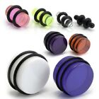 1 x ACRYLIC EAR FLESH STRETCHER PLUG WITH O RINGS
