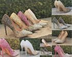 LADIES GLITTER OMBRE  POINTED TOE HIGH SLIM HEEL CLOSED TOE EVENING PARTY SHOES