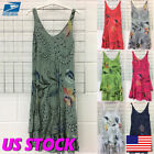US Womens Boho Sleeveless Loose Sundress Straight Dresses Lady Midi Dress Floral