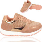 GIRLS KIDS SHINY CASUAL SPORTS SCHOOL LACE UP TRAINER RUNNING SHOES SIZE UK 10-2