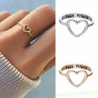 Women Love Heart Best Friend Ring Promise Jewelry Friendship Rings Girl Gift Hot image