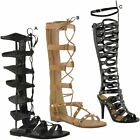 Womens Ladies Flat Long Length Sandals Lace Up Heels Summer Strappy Shoes Size
