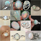 925 Silver Ring White Fire Opal Moon Stone Wedding Engagement Women Jewelry Gift