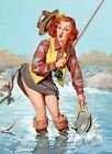 Pin Up Elvgren Fishing Beauty Crazy Quilt Block Multi Szs FrEE ShiP WoRld WiDE