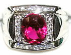 Men's 7.2ctw Ruby &  White Topaz Sterling Silver 925 Ring   005920
