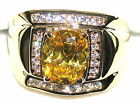 Men's 7.2ctw Citrine & White Topaz Ring  November Birthstone -  U pick setting