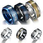 Punk Men Women Dragon Design Rings Jewelry Stainless Steel Band Size 7-11 New image