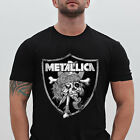 Metallica T Shirt Oakland Raiders Skull Heavy Black Men's Tee Size S - 5XL image